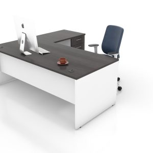 Rectangular-LShape-Desk-with-Pedestal-Tuxedo-and-White (Front)