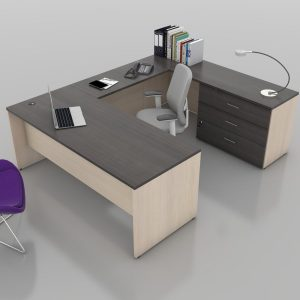 U-Shape-Rectangular-Desk with Tuxedo Top and Maple Base (Angle)