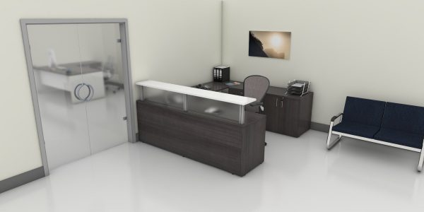 Gallery Reception Desk with Acrylic (Tuxedo)