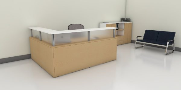 Gallery Reception Desk with Acrylic (Maple)