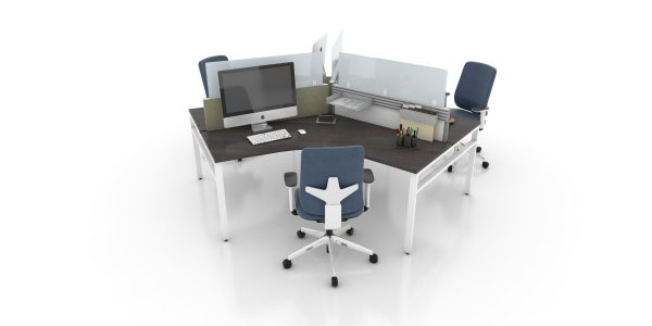 Office Furniture Toronto - Modern Bench Workstation 120 Degrees with N-Legs (Tuxedo)