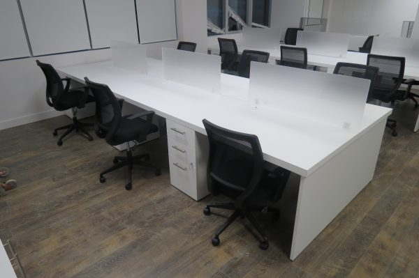 Bench Laminate Workstation with Acrylic Screens and Pedestals-White