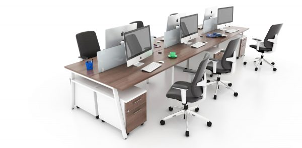 Bench Workstation with V-Legs and Acrylic Screens-6 Person
