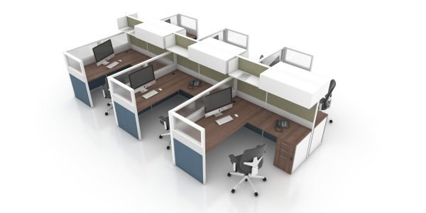 Cubicle-Clerical-LShape-with-Fabric-and-Acrylic-Panels-and-Overhead-Storage (Caramel Top/White Base/Bluestone and Silver Panels)