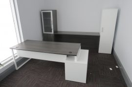 Custom Office Furniture -Private Office with O-Leg Desk and Custom Cabinets