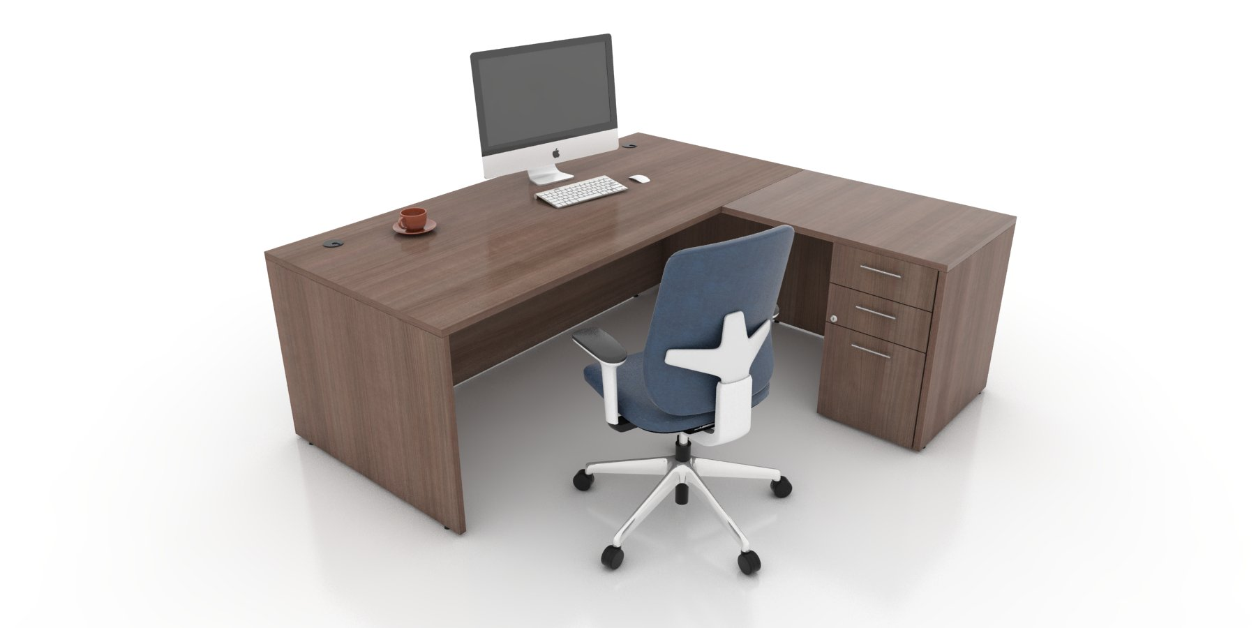 Office Furniture Toronto - Rectangular L-Shape Desk with Pedestal-Caramel