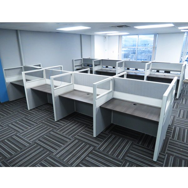 Refurbished-Call-Center-Cubicle-with-Acrylic-and-Fabric-Panels