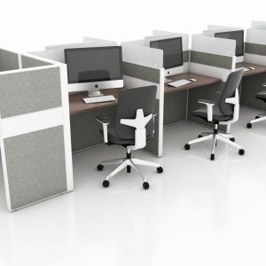 Refurbished Call Centre Workstations with Acrylic Screens and Fabric Panels - Caramel