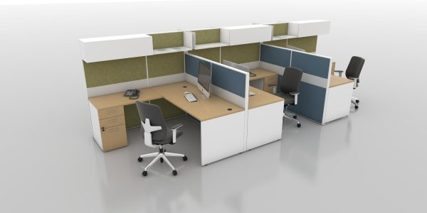 Refurbished-Cubicle-Clerical-LShape-with-Fabric-and-Acrylic-Panels-and-Overhead-Storage (Maple Top/White Base/Bluestone and Silver Panels)