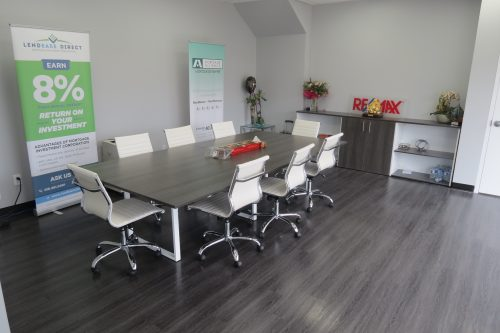 Rectangular Boardroom Table with O-Legs-Tuxedo and White