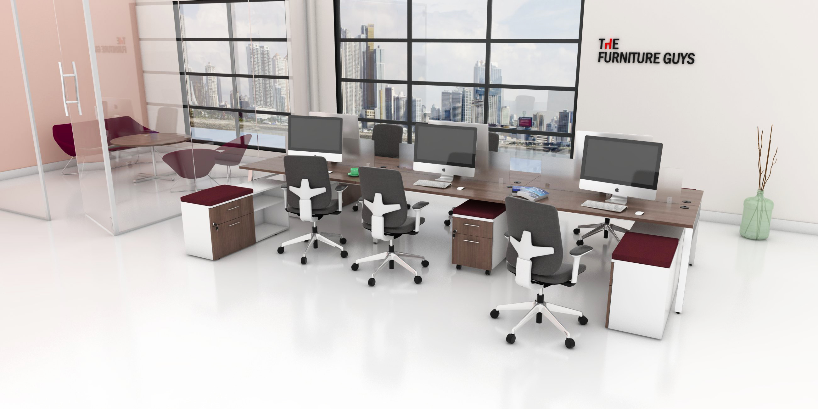 Office Furniture Toronto - Modern Bench Workstation with Mobile Pedestals and Glass Walls