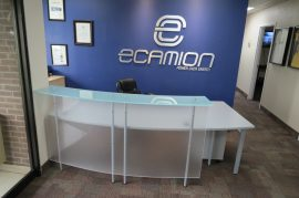 Curved Acrylic Reception Desk