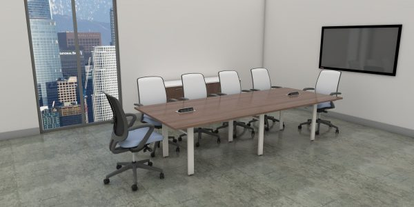 Rectangular Table with O-Leg - Caramel and White