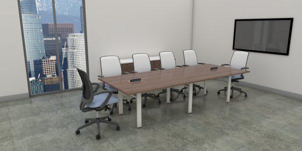 Rectangular Table with O-Leg - Caramel and White